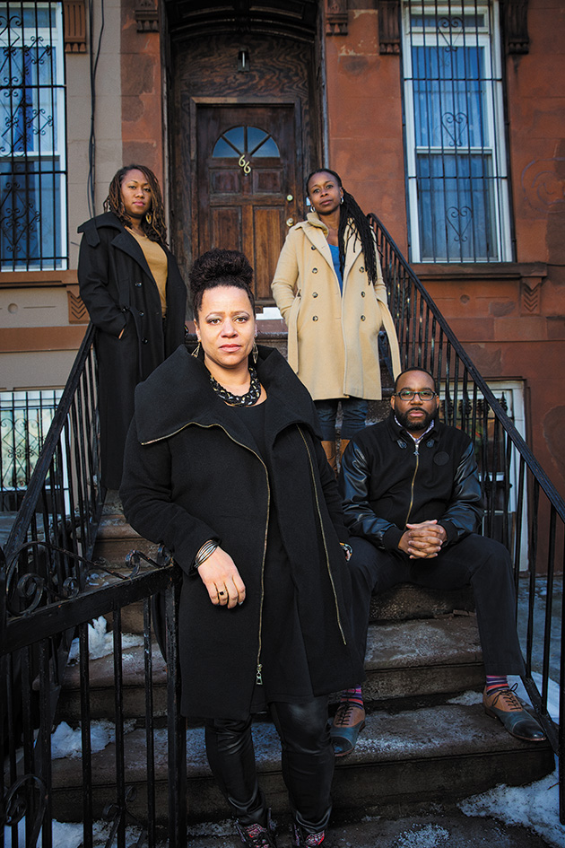 Nikole Hannah-Jones, at front; with her friends Carla Murphy, left, and Monifa Bandele; and her husband, Faraji Hannah-Jones, in Bedford-Stuyvesant, Brooklyn.