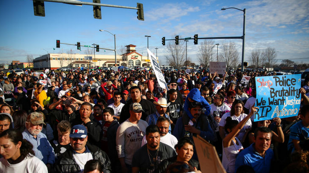 People attend a rally for Antonio Zambrano-Montes in Pasco, Wash.