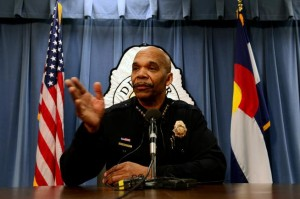 Denver police chief Robert White addresses the media.