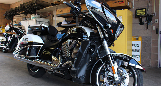 This motorcycle is part of a fleet for which the Oro Valley Police Department put $45,500 of federal asset forfeiture money toward a lease payment. (Cronkite News Photo by Agnel Philip)