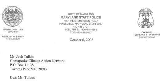 Maryland Police Placed Peaceful Climate Death Penalty Anti War