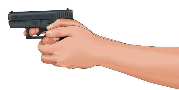 """Finger alongside the trigger."" An illustration of improper finger position from Guns.com."
