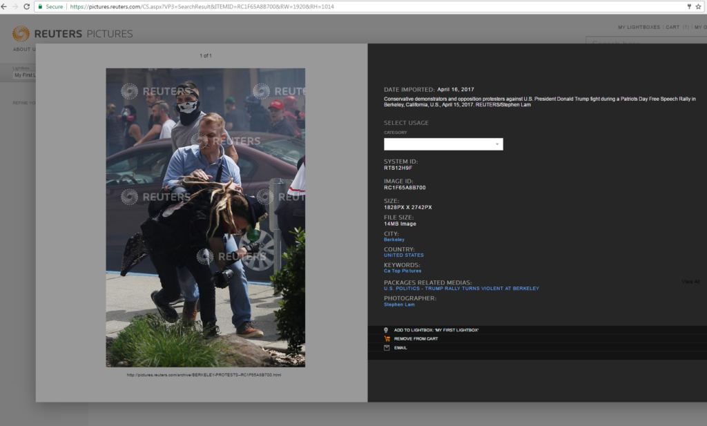 This image is a screenshot showing the original Reuters photo and confirming it was not photoshoped